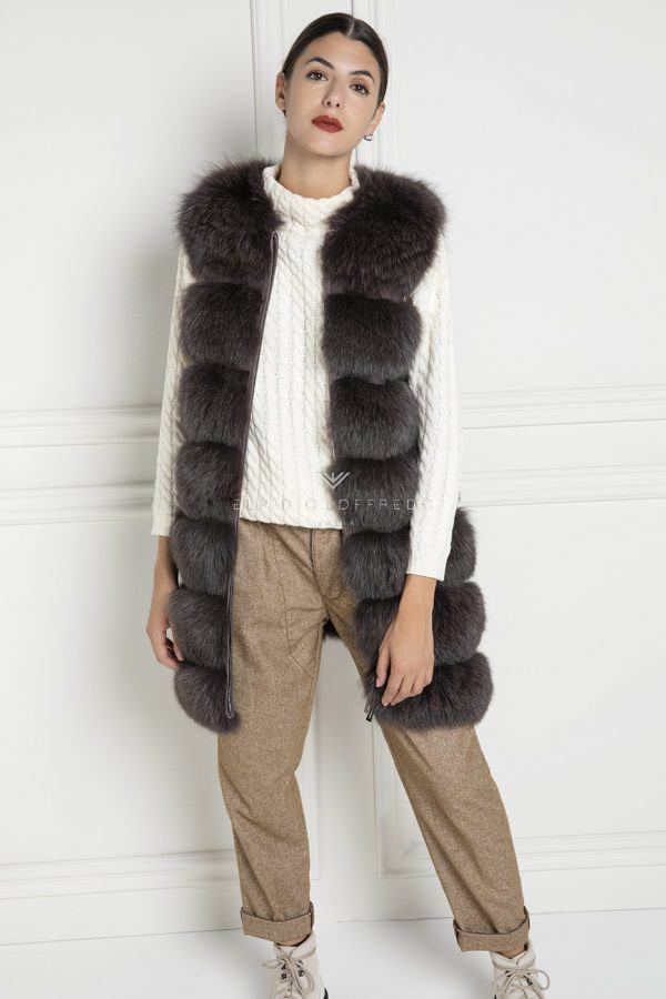 Brown Fox Fur Vest - Length 80 cm