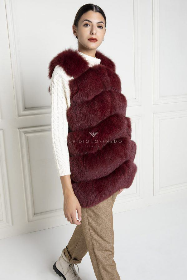 Red Fox Fur Vest - Length 65 cm