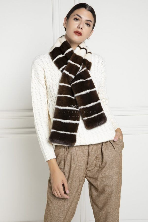 White and Brown Mink Scarf