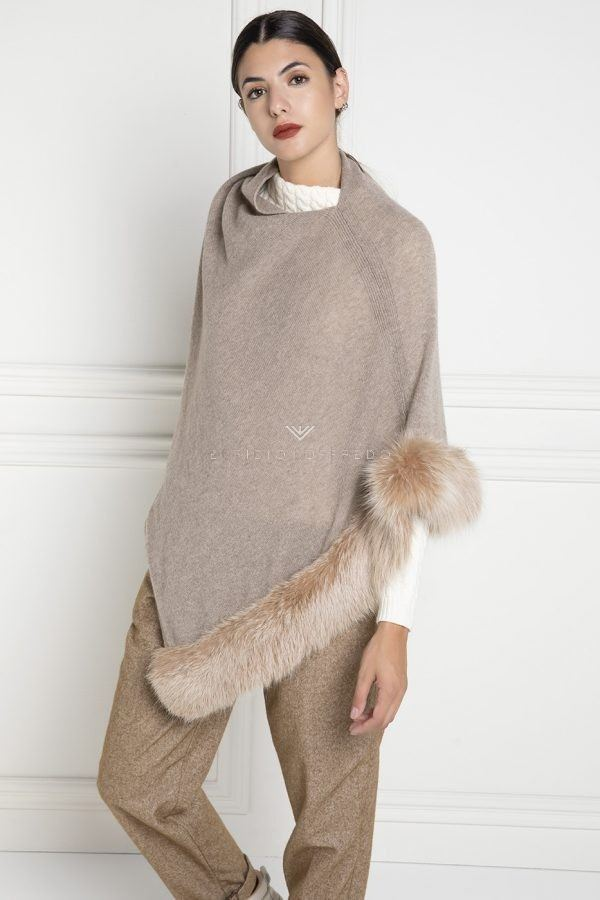 Cashmere Loro Piana Cape with Brown Fox Fur