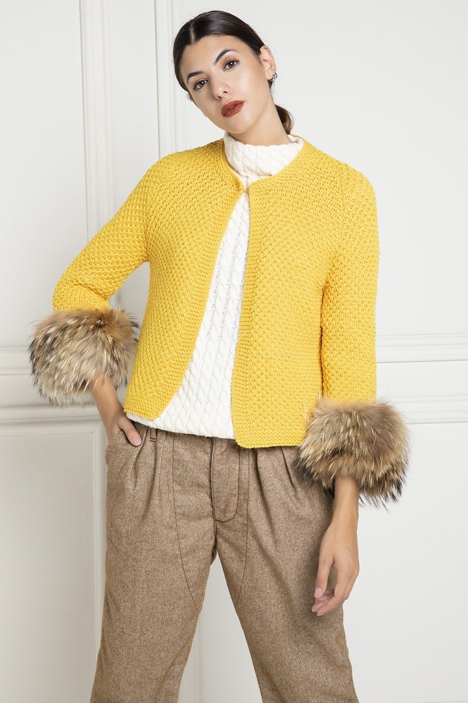 Yellow Wool Jacket with Fur - Length 55 cm