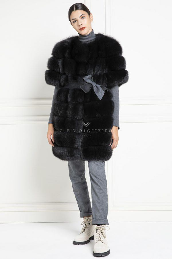 Black Fox Fur Vest - Length 90 cm