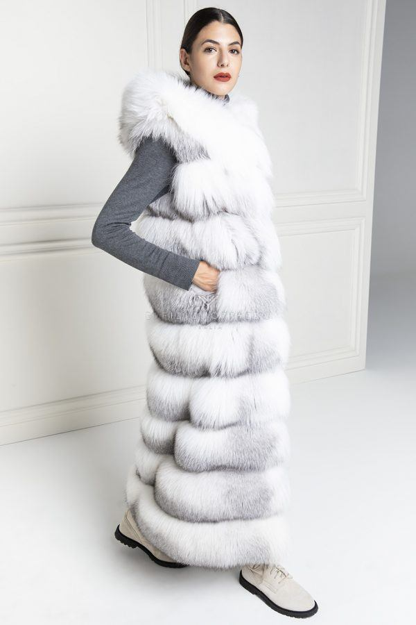 Gilet di Volpe con Cappuccio - Lunghezza 130 cm
