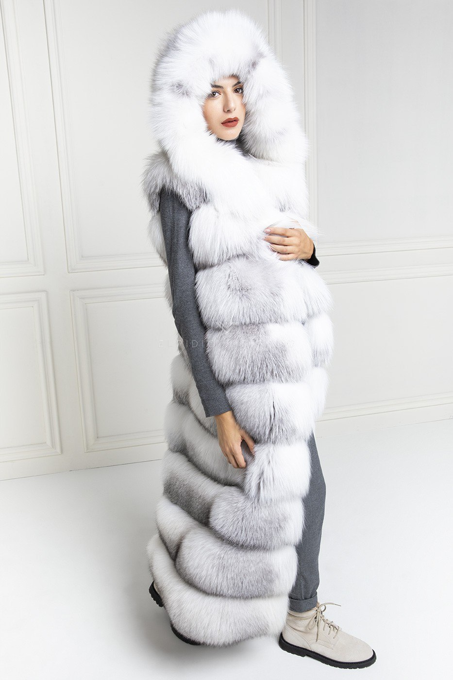 Fox Fur Vest with Hoodie- Length 130 cm