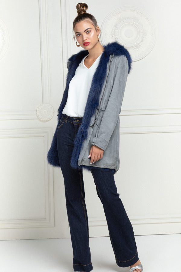 Suede Parka with Fox Vest - Length 85 cm