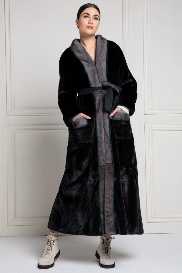Cappotto di Visone Blackglama con Visone Blue Iris - Lunghezza 130 cm