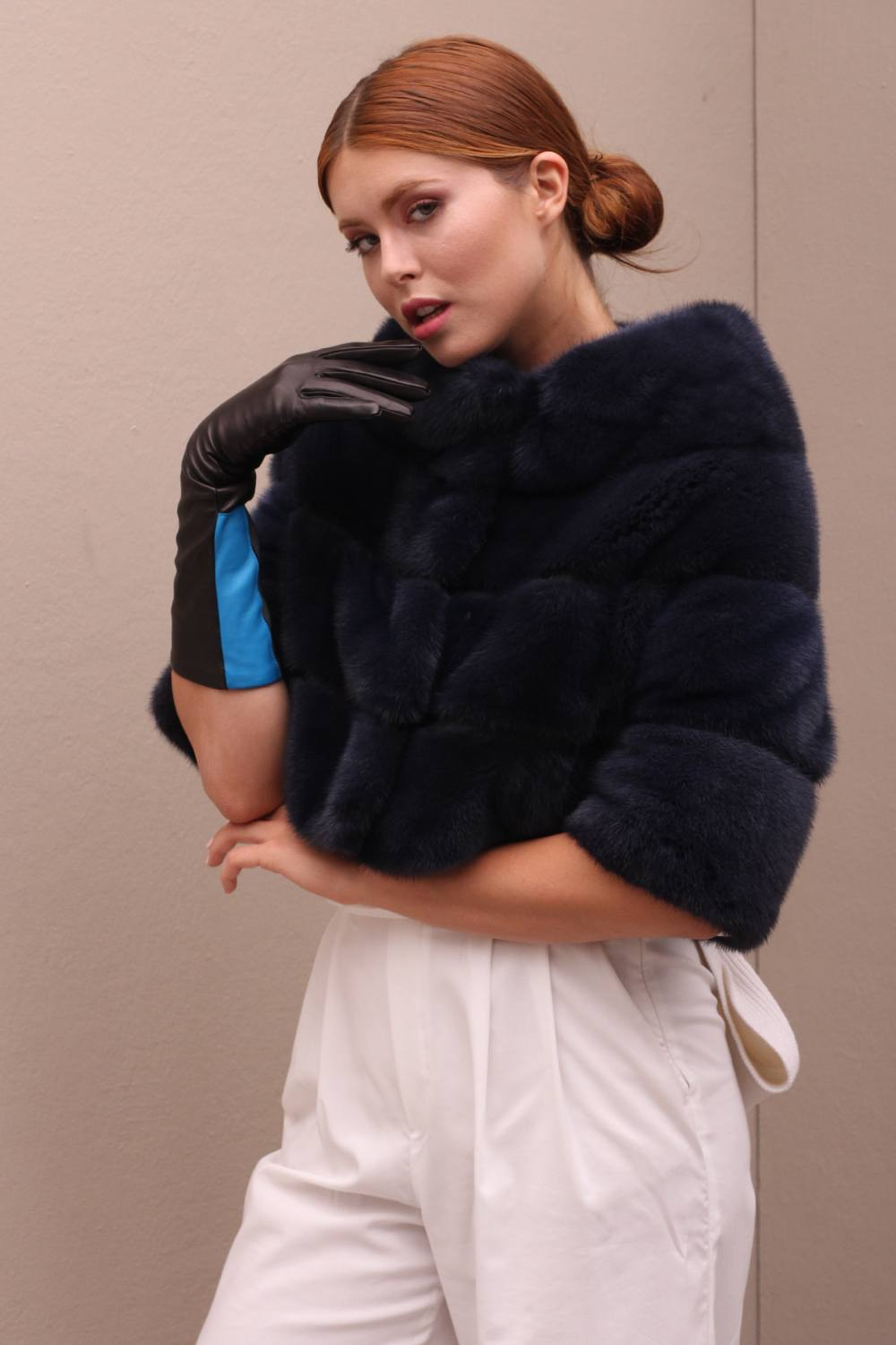 Blue Mink Fur Jacket - Length 45 cm