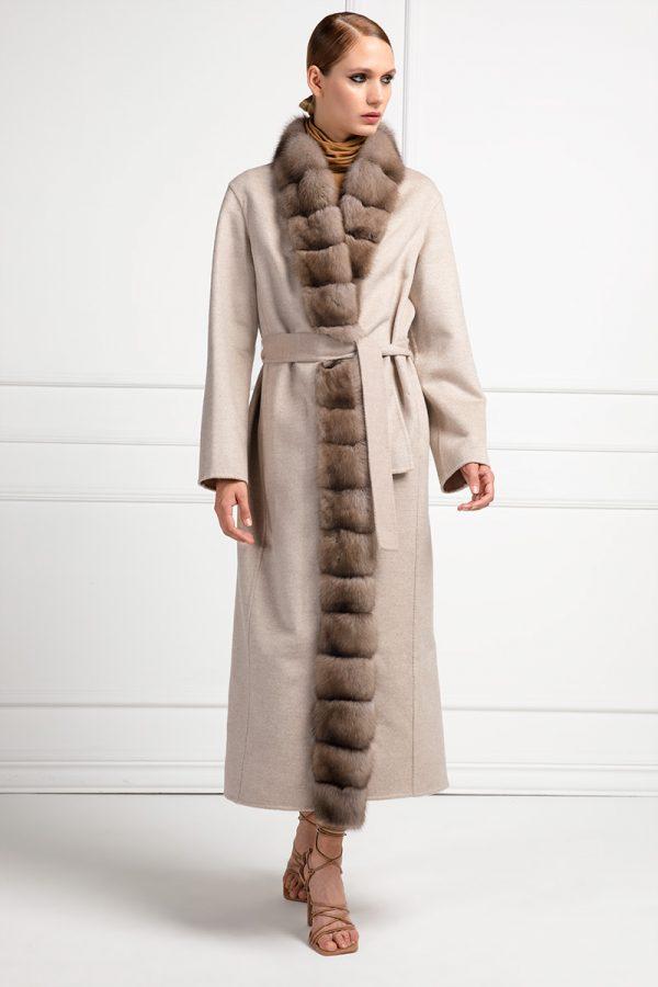 Пальто из Кашемира Loro Piana с Мехом Русского Баргузинского Соболя