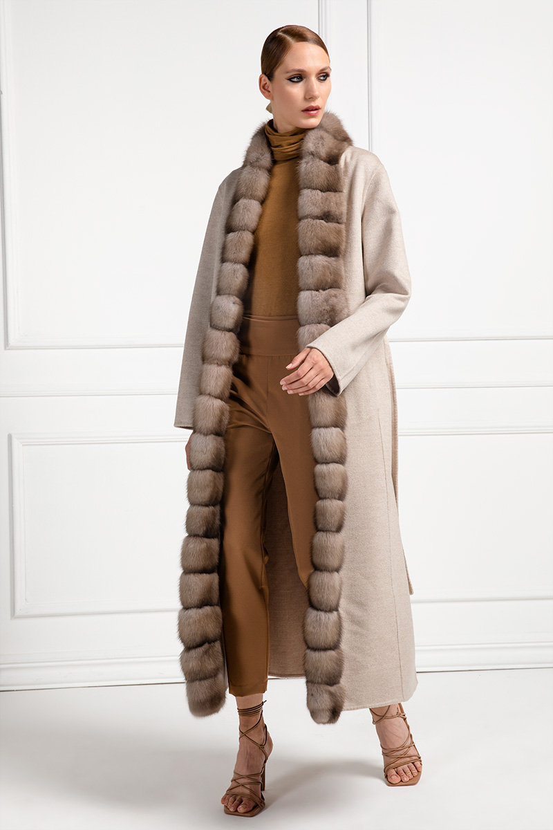 Cashmere Loro Piana Coat with Russian Sable