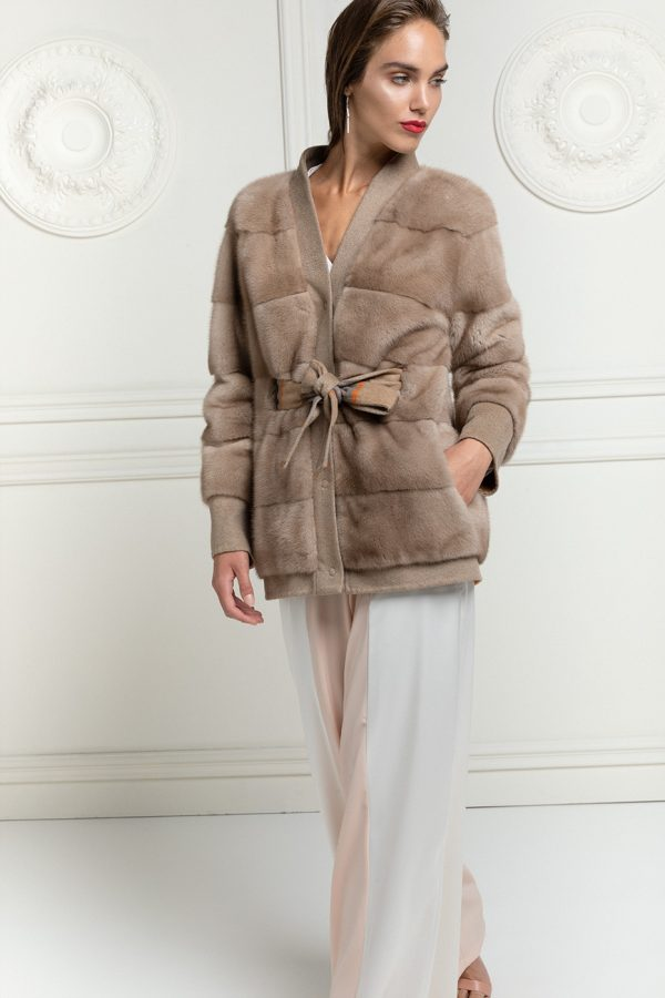 Cashmere Loro Piana Jacket with Pastel Mink