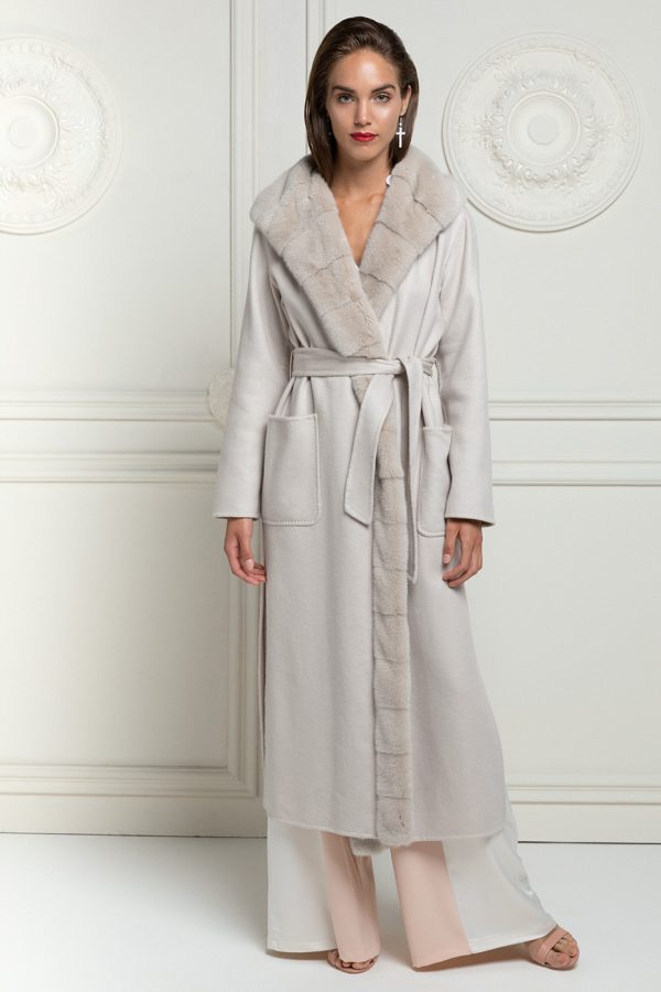 Cashmere Loro Piana Coat with Beige Mink
