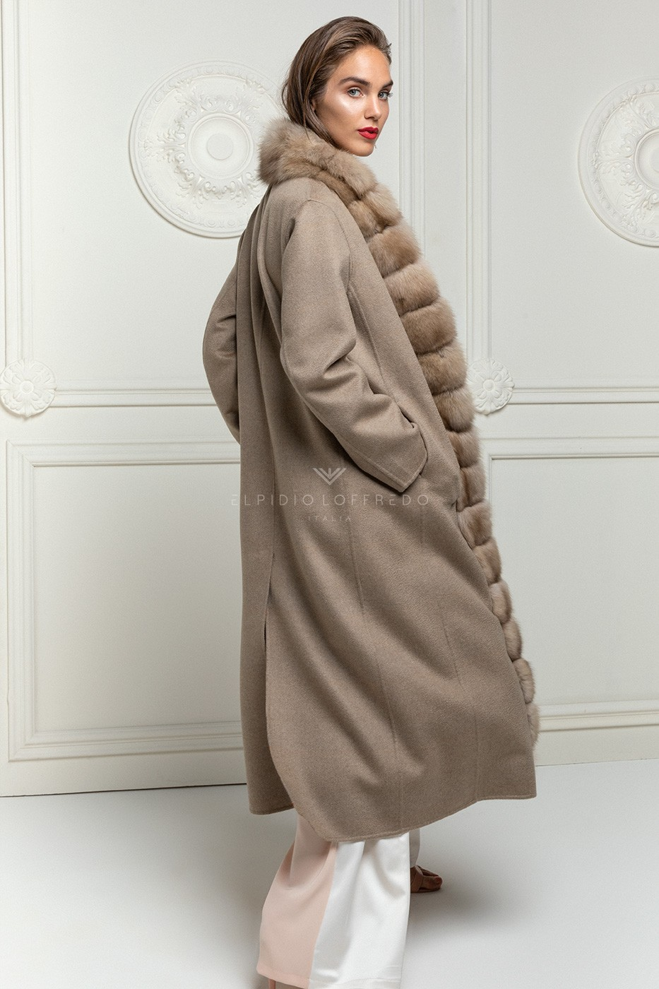 Cashmere Loro Piana Coat with Russian Sable