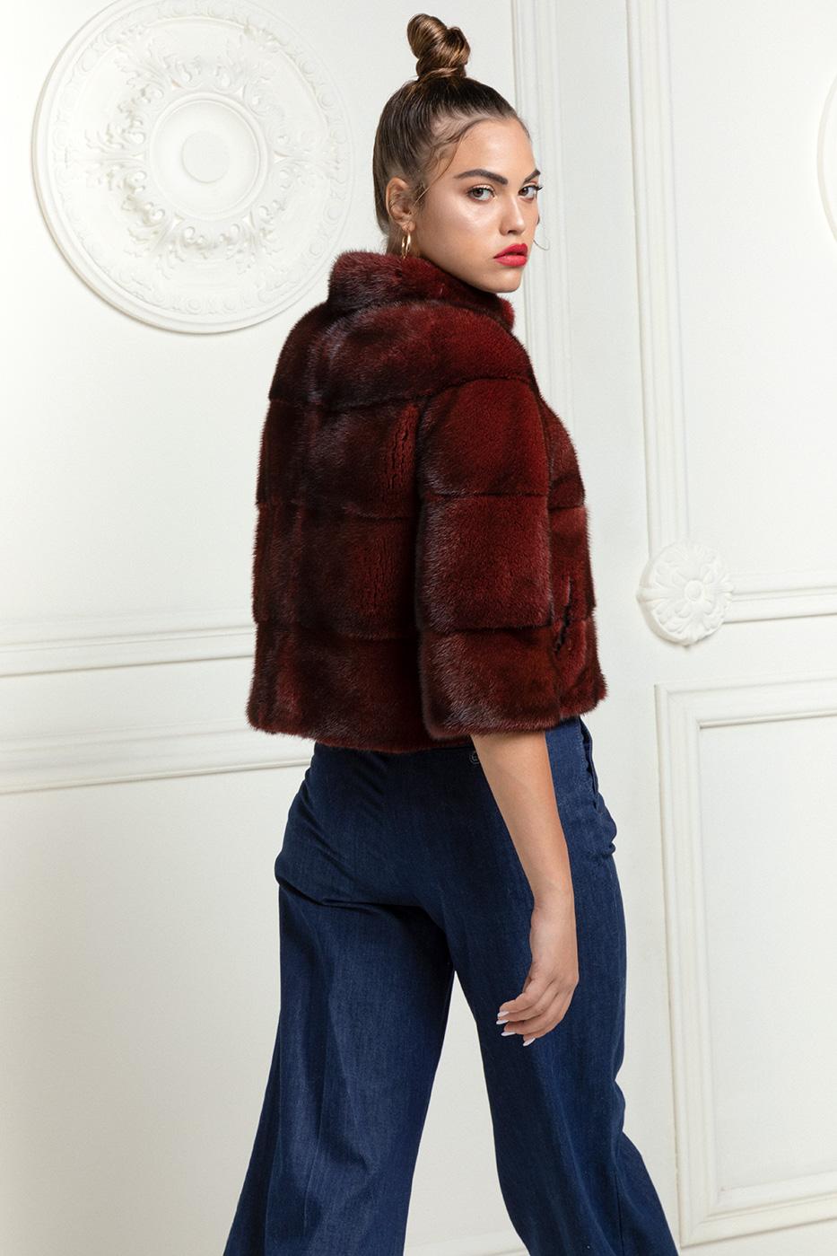 Red Mink Short Jacket