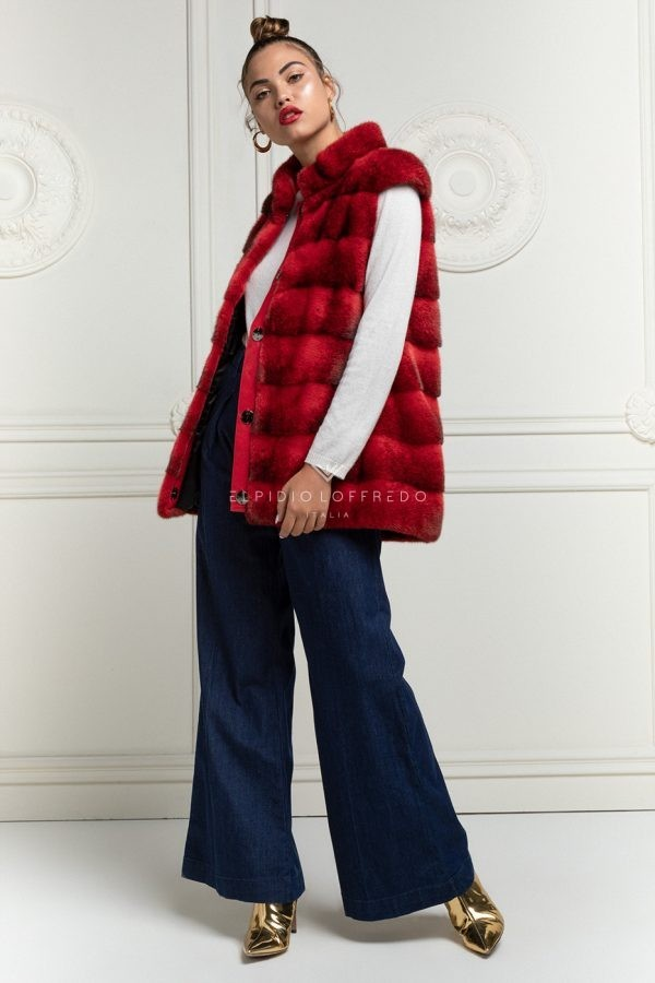 Red Cross Mink Vest