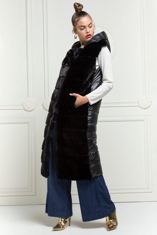 Black Mink Vest