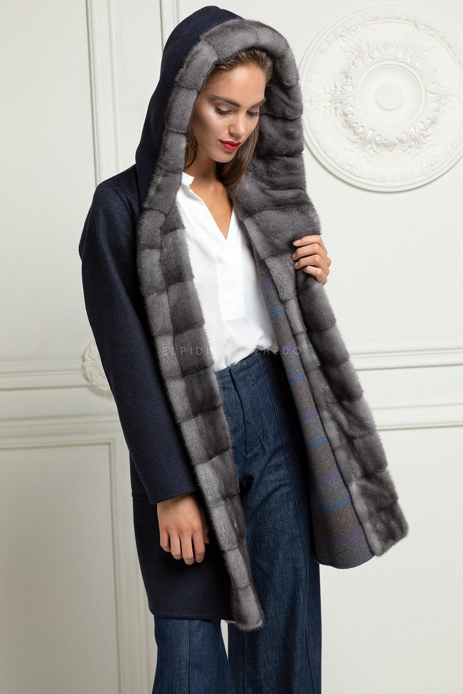 Пальто из Кашемира Loro Piana с Норкой Blue Iris