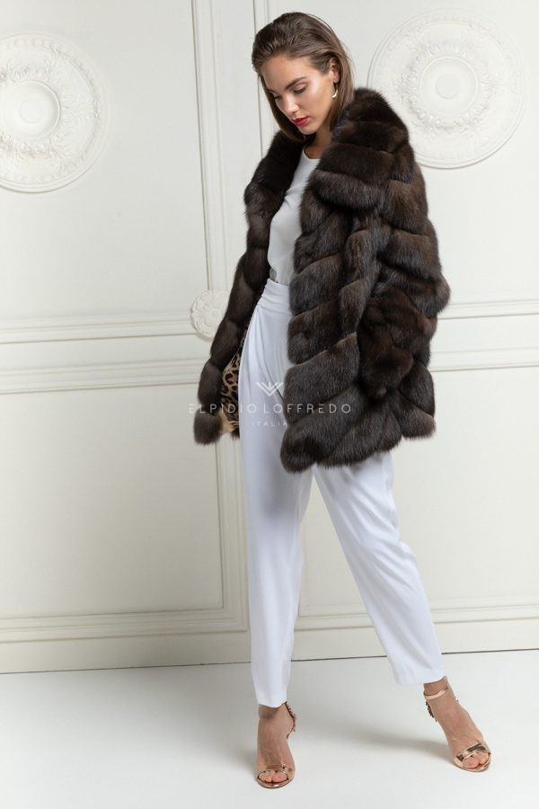 Barguzinsky Russian Sable Jacket - Brown Color - Length 70 cm
