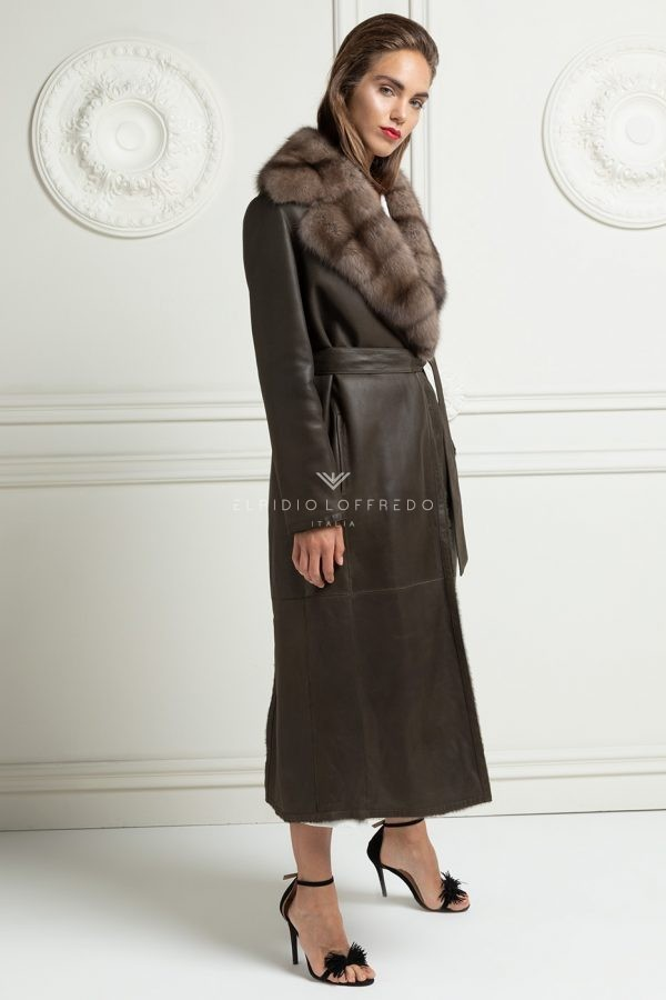 Lamb Shearling Coat with Sable Fur