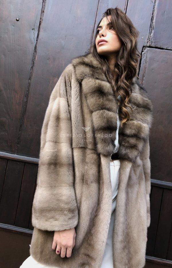Cappotto di Visone Pastello