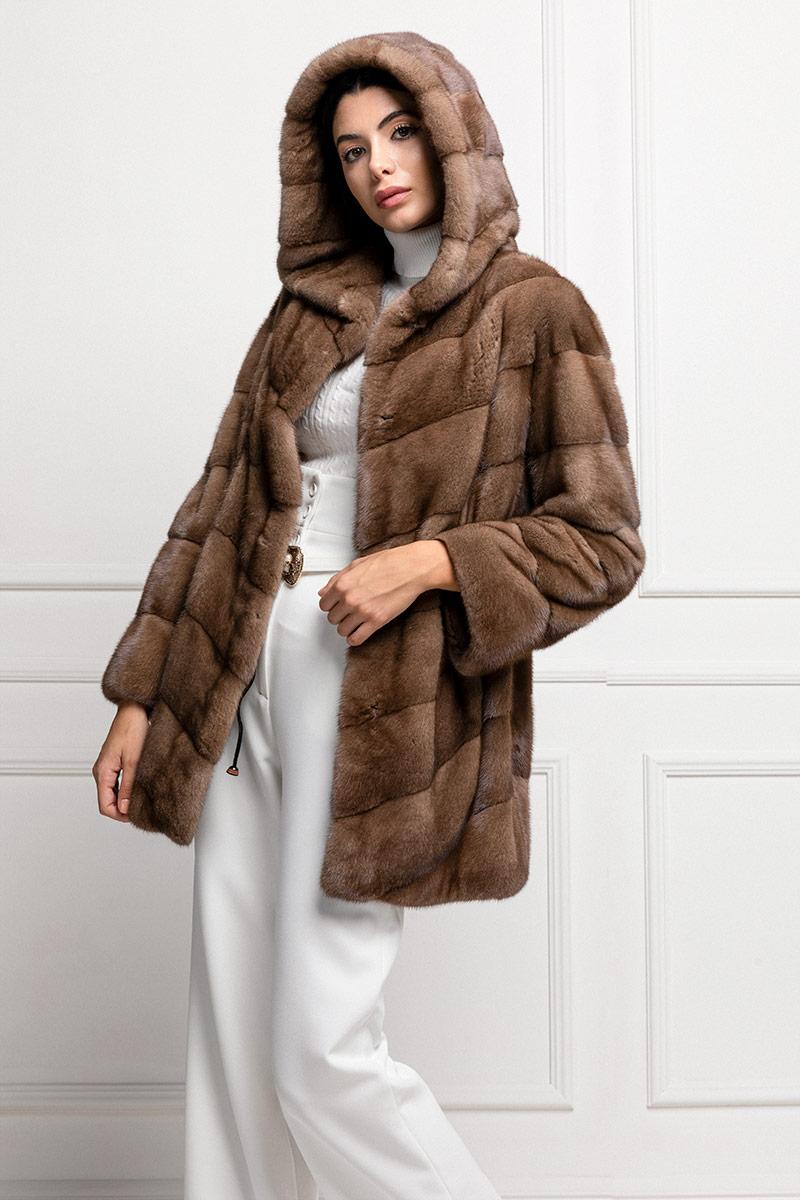 Mink Coat with Hoodie