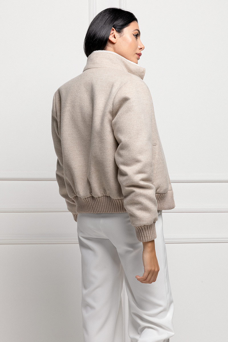 Cashmere Bomber with Sheared Mink
