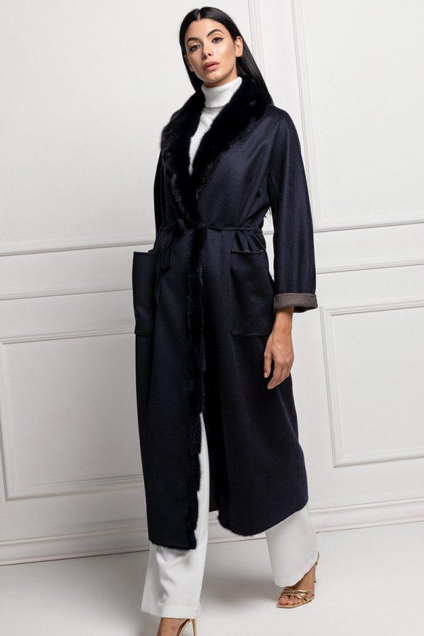 Cappotto di Cashmere Blu con Visone