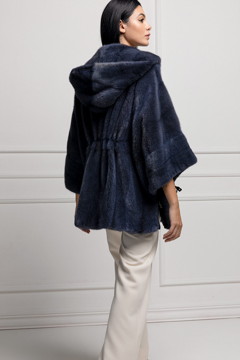 Blue Cross Mink Coat with Hoodie