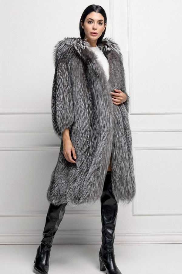 Silver Fox Fur with Hoodie