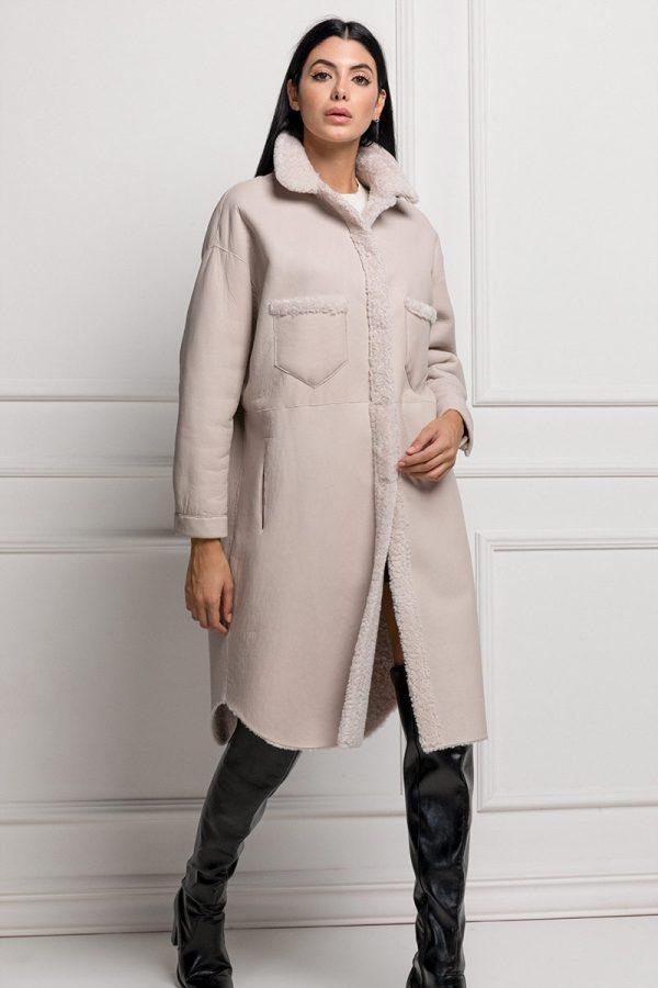 Pearl Lamb Shearling Coat