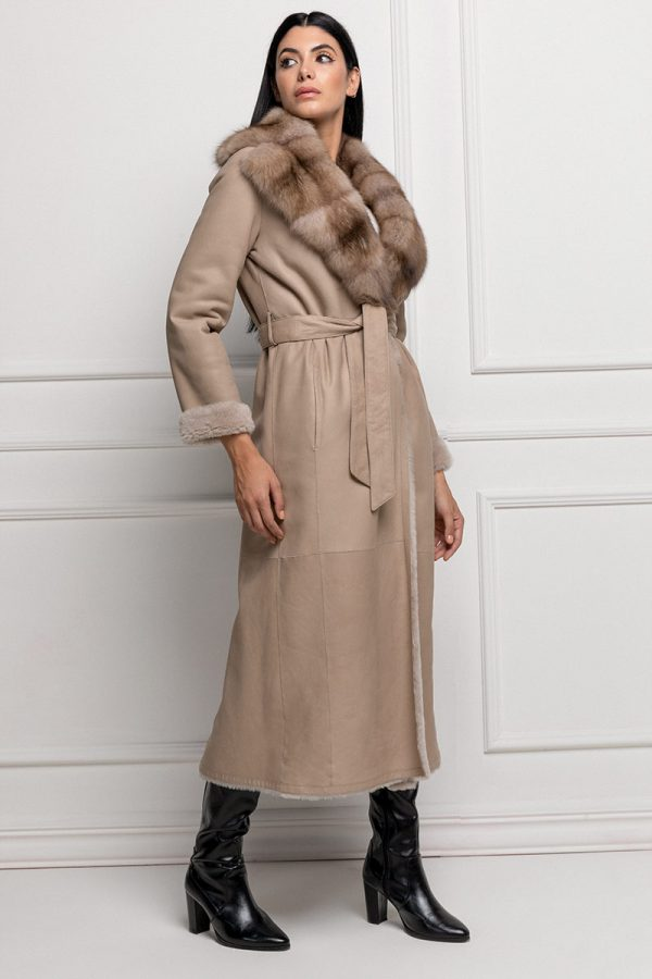 Lamb Shearling Coat with Sable