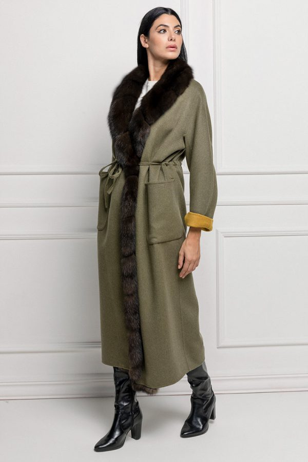 Green Cashmere Coat with Sable