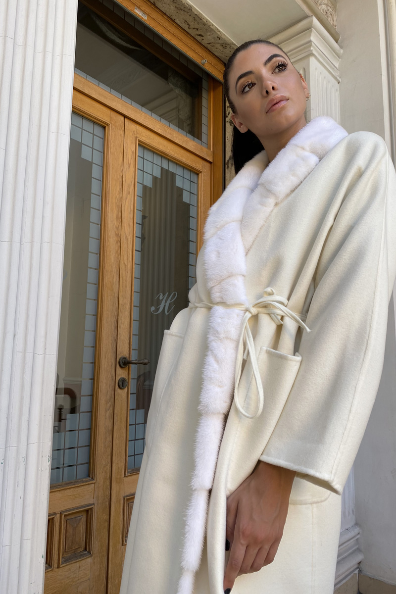 White Cashmere with Mink Fur