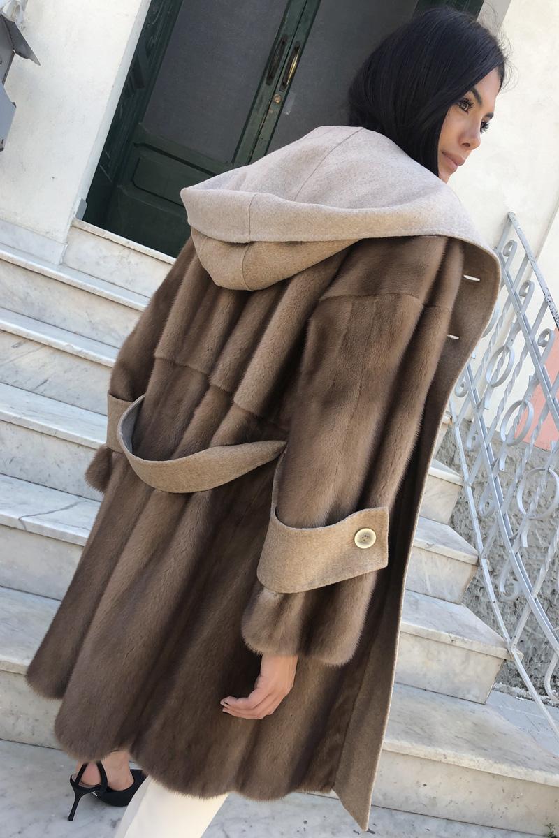 Cappotto di Cashmere con Visone Pastello