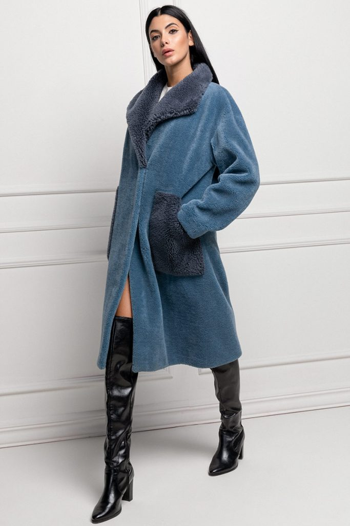 cappotto di montone blu