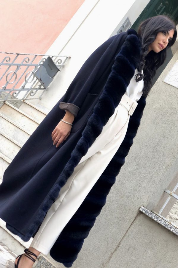 Blue Cashmere Coat with Chinchilla