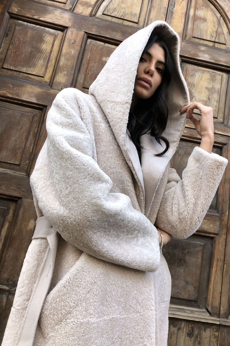 Lamb Shearling Coat with Cashmere