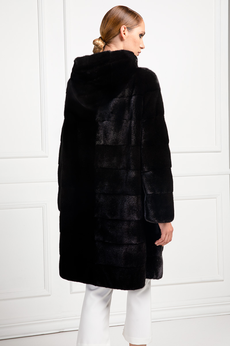 Cappotto di Visone Blackglama con Cappuccio