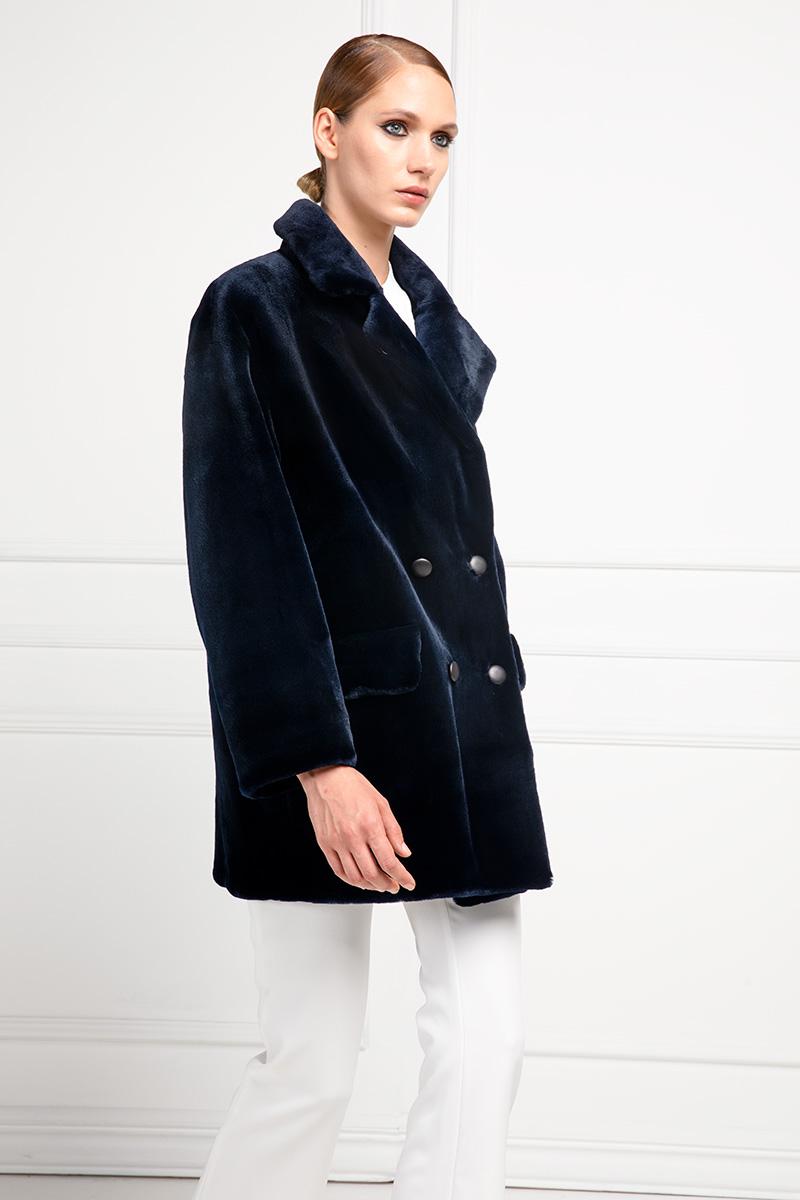 Dark Blue Sheared Mink Jacket
