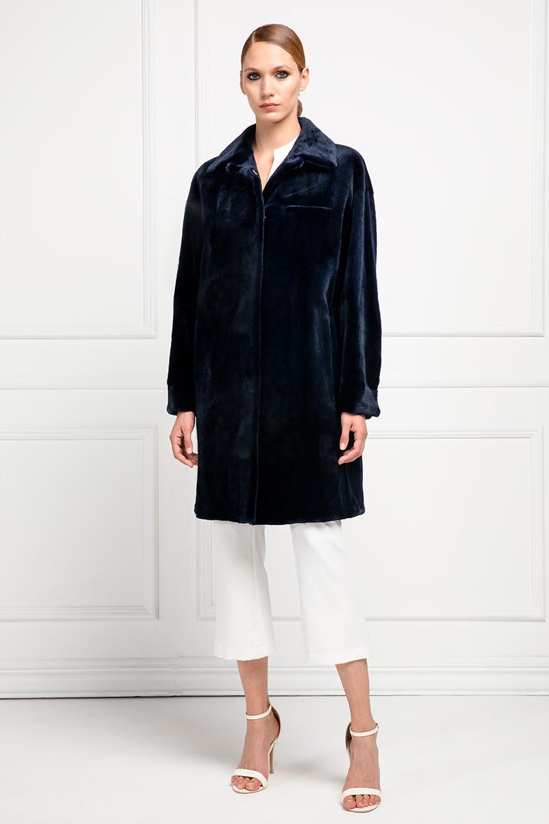 Dark Blue Sheared Mink Coat