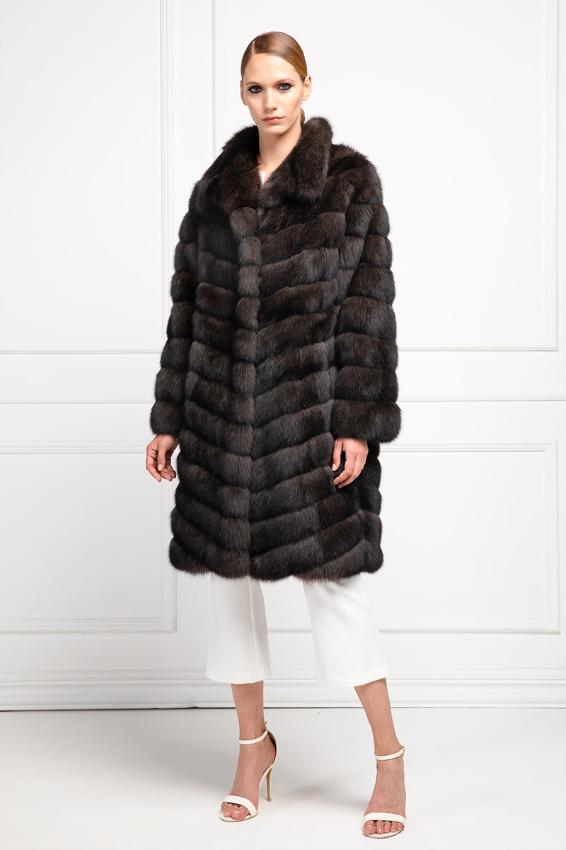 Sable Fur Coat with Cashmere Silvery 3