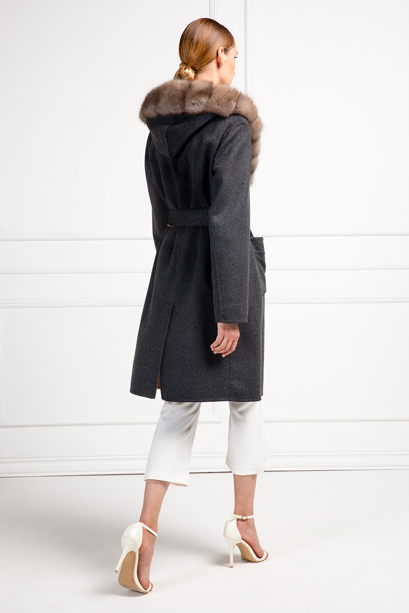 Cashmere Coat with Russian Sable Fur