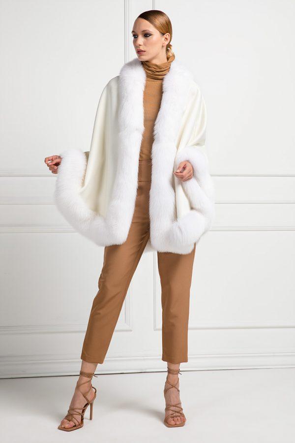 Cashmere Loro Piana Mantel with Fox Fur