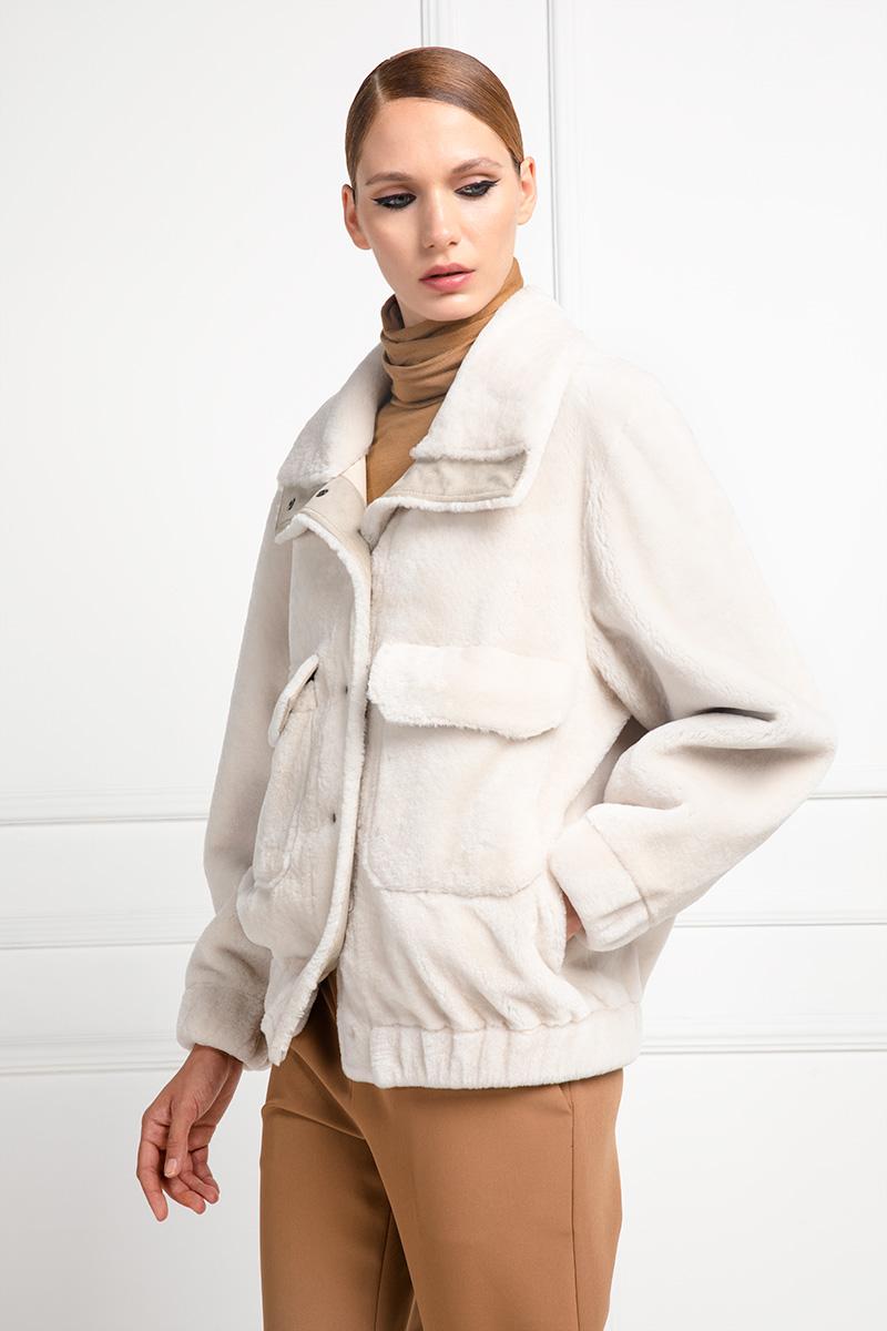Beige Lamb Shearling Jacket