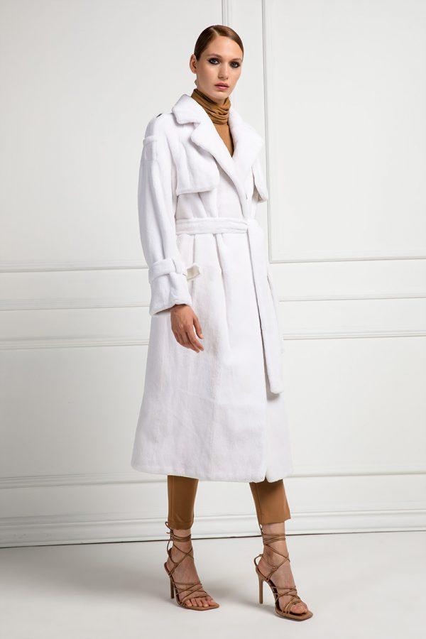 White Sheared Mink Coat
