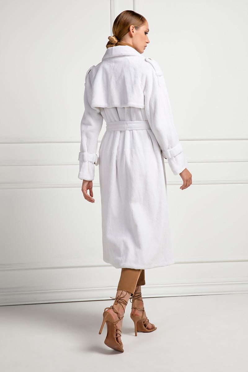 Cappotto di Visone Rasato Bianco