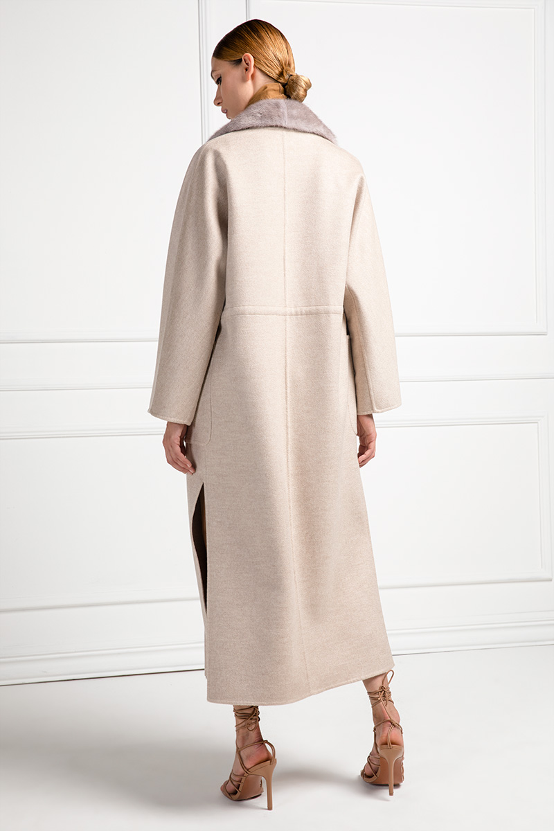 Пальто из Кашемира с Норкой SilverBlue