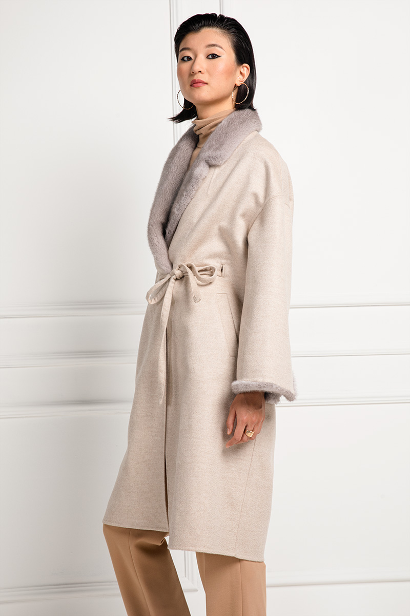 Cashmere Coat with Mink