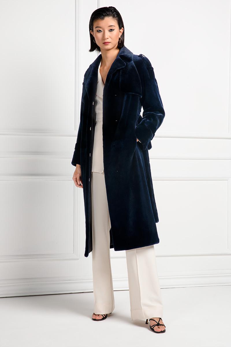 Cappotto di Visone Epilato Dark Blue