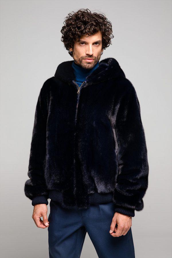 Dark Blue Mink Jacket