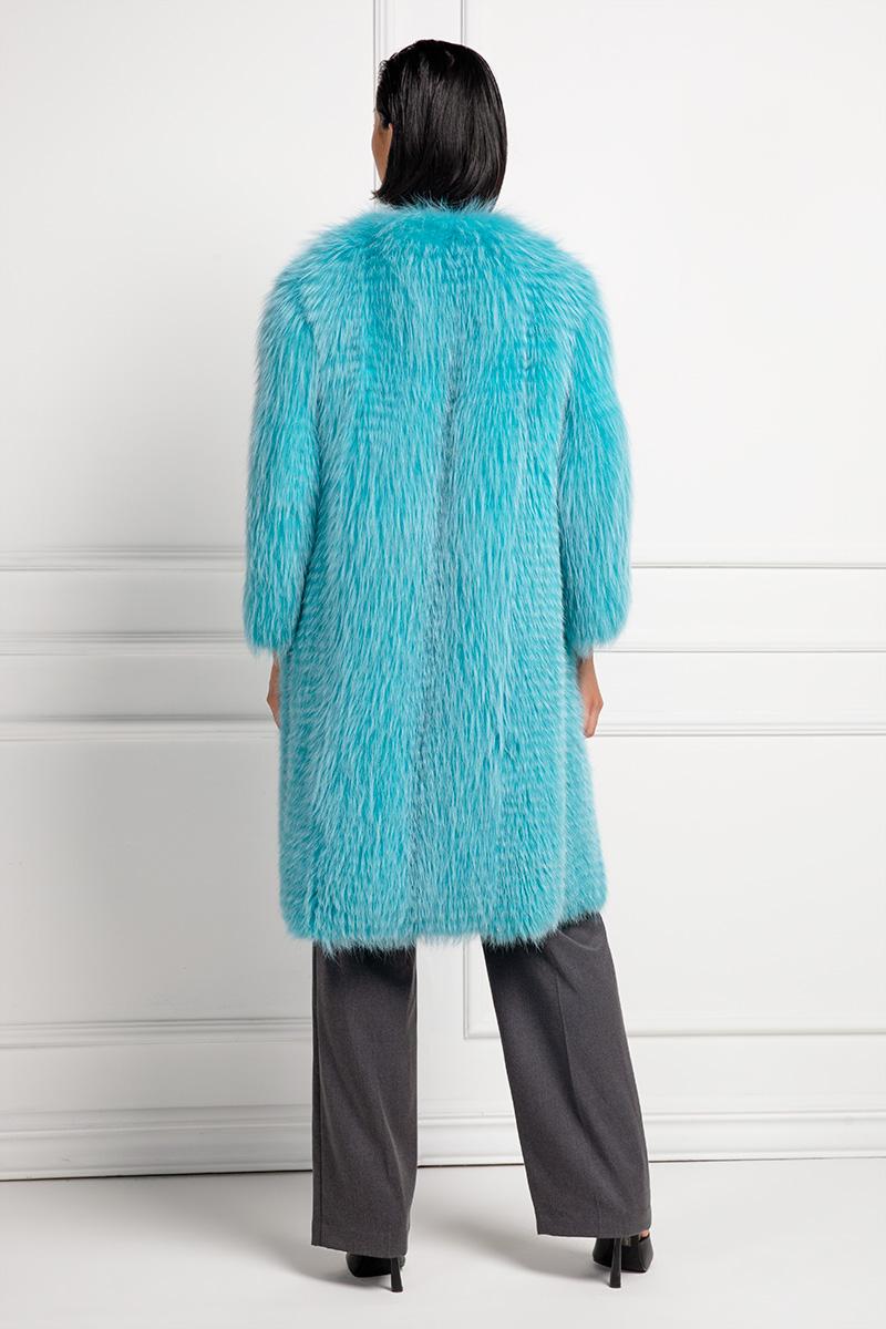 Aquamarine Fox Fur Coat